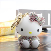 Cute Rhinestones Hello Kitty Llavero Cat Auto Key Chains Ring for Car Keyring Cartoon Kt Porte Clef  Women Bag Trinket Pendant