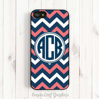 Personalized Monogram Coral Pink and Navy Blue Chevron Samsung Galaxy S3 S4 iPhone 4 4s Case iPhone 5 Case iPhone 5s iPhone 5c Case csc56