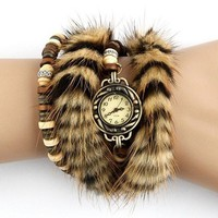 Unique Handmade Leather Belt and Double Fur Ring Watch