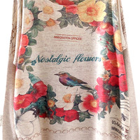 Beige Batwing Long Sleeve Floral Birds Print Sweater - Sheinside.com