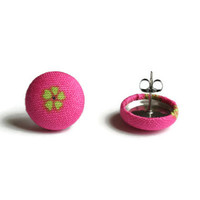Lily Pulitzer Inspired, Fabric Earings, Button Earings, Pink Earings, Button Earrings, Fabric Earrings, Pink Earrings, Stud Earings, Studs