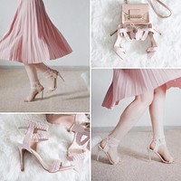 LEATHER WOVEN HIGH HEEL SANDALS