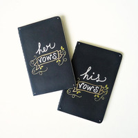 Wedding Vows book. Set of 2. Gold and Silver Hand drawn notebooks. His vows, Her vows vines.