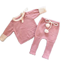 Handmade Bow Knitted Newborn Baby Girl Clothes Winter Autumn Infant Clothing Set Pink Pulling Rope Coat Pants With Ball Cotton