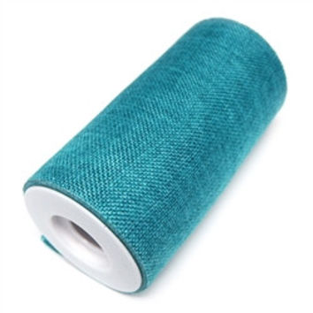 Burlap Roll Frayed Edge, 6-inch, 10-yard, Turquoise