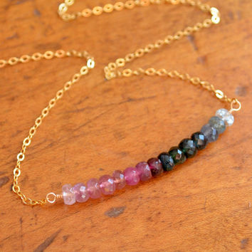 NEW Tourmaline Gemstone Necklace, Pink and Blue Green, Indicolite Teal, Row, October Birthstone, Gold Jewelry, Free Shipping