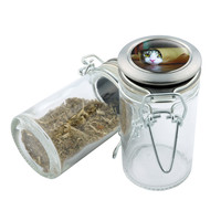 Glass Stash Jar - Cat in Tube - 75ml Storage Container - Secret Stash Box for Custom Herb Grinder - Stay Fresh Herbs 1/6 oz.
