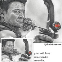 Drawing of Hawkeye (Jeremy Renner) from Avengers