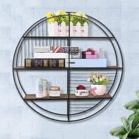3 Tier Wood and Round Metal Floating Wall Shelf with Slatted Details, Brown and Black