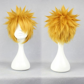 Mens Fashion 30cm Short Yellow Haircut Anime Cosplay NARUTO-Uzumaki Naruto Wig,New Highlight Ombre Colorful Candy Colored synthetic Hair Extension Hair piece 1pcs WIG-242A