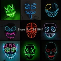 Halloween ghost Slit mouth light up glowing EL wire Cute mask Fashion Cosplay mask Costume mask for party By 3V Steady On Driver