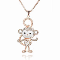 Cute Crystal Monkey Necklace