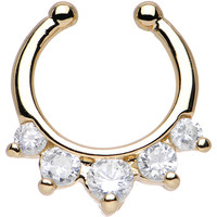 Five Clear Cubic Zirconia Gold IP Non-Pierced Clip On Septum Ring | Body Candy Body Jewelry