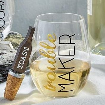 'Trouble Maker' Glass With Stopper By Mudpie