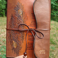 Rustic Leather Journal Hand Tooled, Hand Written and Hand Bond with Recycled Paper