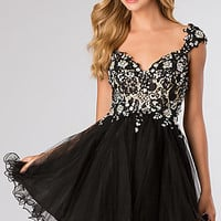 Short Beaded Lace Cap Sleeve Homecoming Dress by Alyce Paris