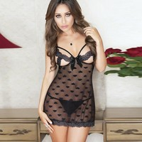 Cute On Sale Hot Deal Sexy Sleepwear Lace Spaghetti Strap Dress Exotic Lingerie [6596452611]