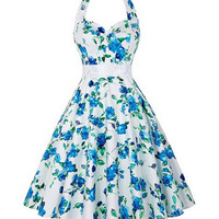 Retro Floral Print Halter Neck Dress