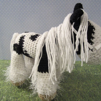Gypsy Vanner Stuffed Horse, Crochet Horse, Amigurumi Horse, Ready to Ship  by CROriginals