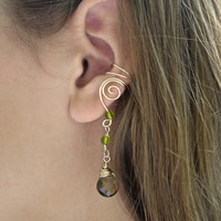 EAR CUFFS Pair of 14K Gold Filled Ear Cuffs with Smokey Topaz and Peridot Green Glass Crystals