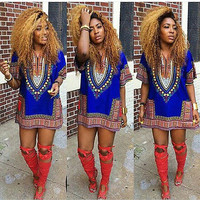 Traditional African Print Dashiki Bodycon Dress