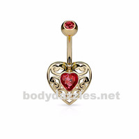 Gold Vintage Filigree Heart with Heart Crystal Center 316L Surgical Steel Belly Button Navel Rings