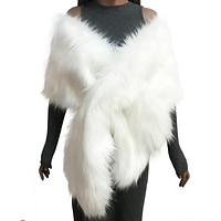 Black White Pink Fur Coat Ponchos And Capes Bridal Wedding Shawl Cape Faux Fur Coat Fur Vest Sleeveless Winter Coats Women