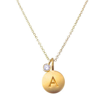 Gold Initial Charm Necklace with CZ Charm