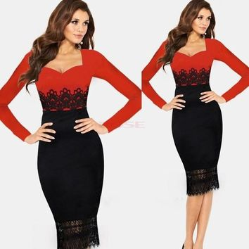 Womens Crochet Lace Elegant Tunic Wear to Work Business Party Cocktail Dress EO5 20133 Vestidos = 5738836993