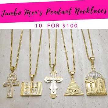 """10 Men's 30"""" Chain and Pendant ($10.00 each) for $100 Gold Layered"""