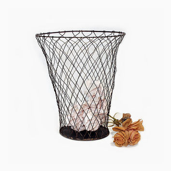 Antique Wire Waste Basket - Metal Wire Trash Can - Industrial Decor - Vintage Braided Wire Mesh Trash Can - Vintage Office - Trash Bin