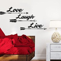 Wall Decals Quotes Love Laugh Live Arrow Quote Vinyl Sticker Decal Art Home Decor Feather Arrows Fashion Bohemian Bedroom Interior C567