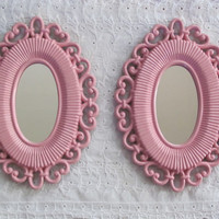 MIRRORS Pair of Pink Vintage Framed Mirrors Shabby Chic Girls Room Nursery Mirrors