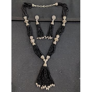 Crystal bead multi stranded tassel style oxidized long chain necklace and earring set