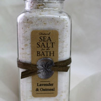 11oz French Square Bottle of Sea Salt for the Bath