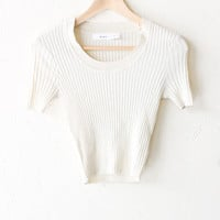 Scoop Neck Sweater Knit Crop Top - Off White