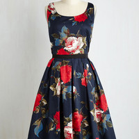 Long Sleeveless Fit & Flare Greenhouse Grandeur Dress in Navy