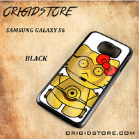 C3PO Hello Kitty Star Wars Black White Snap On 3D For Samsung Galaxy S6 Case