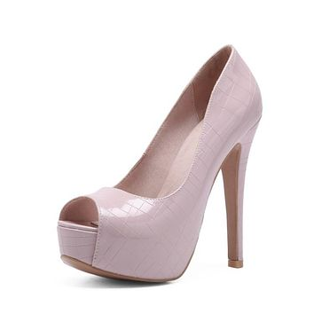 Women's High Heel Fish Mouth Stiletto Heel Platform Pumps