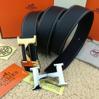 =Handmade Hermes Vintage Black Belt 2H Golden-Sliver Buckle 110CM/38MM