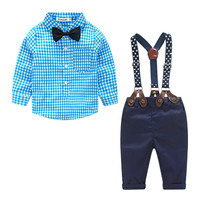 Kids Baby Clothes Grid Shirt Bow Tie + Suspender Long Sleeve Baby Boy Clothes Bowknot Gentleman Plaid Clothing Suit for born