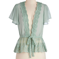 ModCloth French Mid-length Short Sleeves To Quiche Their Own Cardigan in Mint