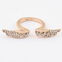 New hot sale Fashion Gilded Angel wings Rhinestone Ring jewelry ,Personality Punk Alloy Opening Ring for women
