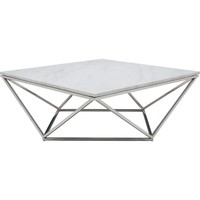 Jasmine Coffee Table Polished Stainless Steel & White Marble Top