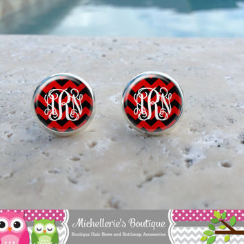 Black & Scarlett Red Chevron  Monogram Earrings,Monogram Jewelry,Monogram Accessories,Monogram Studs,Monogram Leverbacks,Monogram Gifts