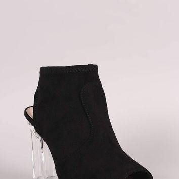 Delicious Fitted Suede Chunky Heeled Booties