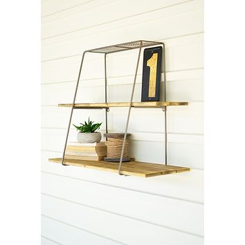 Recycled Wood And Metal Shelf With Wire Mesh Top
