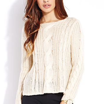 FOREVER 21 Fuzzy Cable Knit Sweater