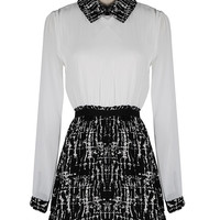 'The Kaitlyn' Long Sleeve Black and White Collar Dress