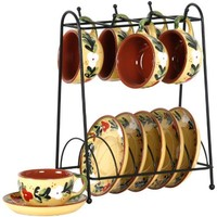 Lynns French Country 13-Piece Espresso Cup and Saucer Set, Service for 6
